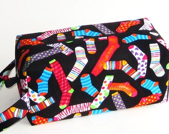 Bigger Boxy Bag Knitting Project Bag - Jazzed Up Socks