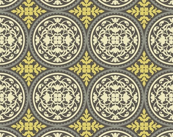 CLEARANCE 2 Yards Joel Dewberry Aviary 2 Scrollwork in Granite Fabric