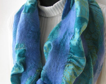 Unique Nuno Felted Cowl - Periwinkle - Womens winter fashion cowl sari silk with merino wool and bamboo scarf for women unique texture