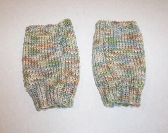 Hand Knit Aspen Print Fingerless Mitten Gloves
