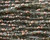 SALE 40% OFF - 3mm Czech Glass Fire Polish Beads - Erinite Half Bronze