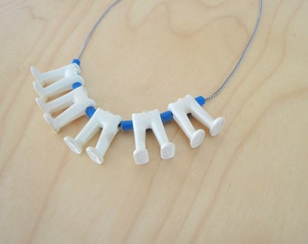 PLAYMOBIL® necklace - BUILD COLLECTION - white and blue