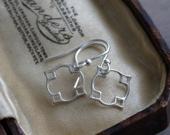 Silver dangle earrings - Moroccan inspired drop earrings in sterling silver - simple silver earrings