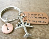 Airplane Keychain, It's not the destination, its the ride, Aviator gift, Aviator keychain, pilot gift, pilot keychain, optional initial disc