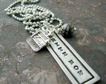 Write Now Necklace, Writer's Necklace, Writing Necklace, Author gift, Novelist gift, pewter rectangle, typewriter charm, alum ball chain