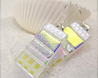 Statement earrings, Dichroic glass jewelry, Fused dichroic, Fused earrings, Dichroic earrings, jewelry, statement earrings, artisan jewelry