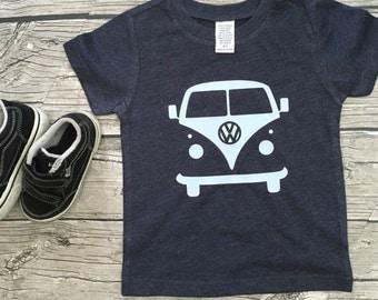 Boys Unisex Volkswagon Bus short Sleeve Heather Navy Light Blue T Shirt modern graphic trendy tee