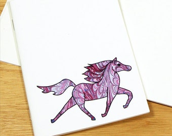 Marbled Paper Purple  Horse Notebook, Horse Diary, Blank Notebook Journal, Horse Lover Gift, Travel Notebook, Mini Journal