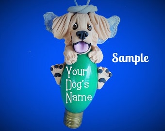 Blonde LIGHT Golden Retriever Angel Dog Christmas Holidays Light Bulb Ornament Sally's Bits of Clay PERSONALIZED FREE with dog's name