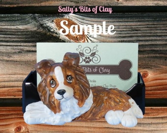 sable Shetland Sheepdog Sheltie dog Business Card Holder / Iphone / Cell phone / Post it Notes OOAK sculpture by Sally's Bits of Clay