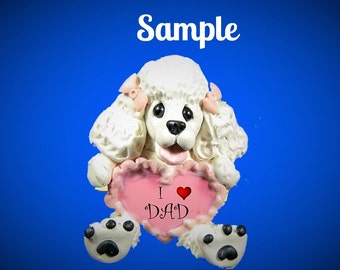 WHITE Poodle Dog  Pink Bows Father's Day Sculpture love DAD OOAK Clay art by Sally's Bits of Clay