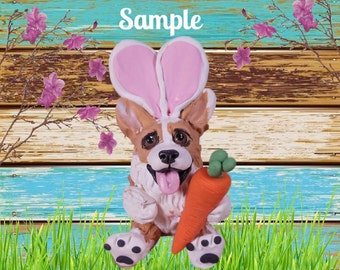 Red and White Prembroke Welsh Corgi Dog  Easter Bunny with Carrot OOAK Polymer Clay art Sculpture by Sallys Bits of Clay