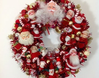 Santa Explosion Vintage Ornament Wreath 18 inches