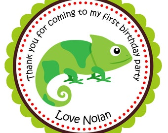 Reptile Stickers, Personalized Stickers, Party Favor, Birthday Party, Labels, Seals, Gift Tags, Birthday - Set of 12