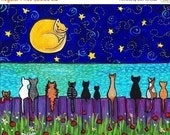ON SALE Full Moon Cats , kittens, ocean, fence, from painting by Shelagh Duffett