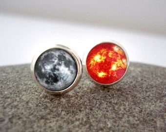 Moon and Sun Earrings - Tiny Silver Petite Solar System Lunar Studs- Science, Astronomy, Universe, Outer Space, Cosmos, Romantic Gift