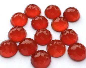 Red Onyx 10mm Gemstone Cabochon Rose Cut Micro Faceted FOR TWO