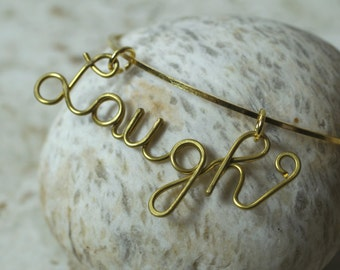 Charm Bangle, Laugh Charm Bangle, Gold Plated Bangle, one piece (item ID BangleLaughGP)