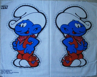 Vintage Smurf Cowboy Fabric Panel for Plush Doll-Uncut/Unsewn 1982 Smurfs Peyo