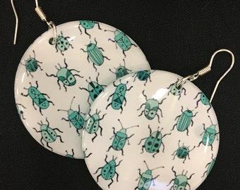 Beetle Resin Earrings - light weight! Bright teal green backs