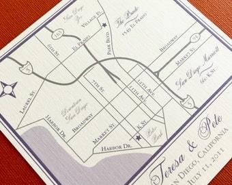 San Diego California custom wedding map, digital file