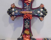 fisherman cross fish stone agate silver stained glass mosaic cross crucifix black orange purple iridescent