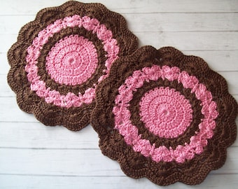 Pair of Vintage doilies, brown and pink, round doilies, crochet doilies, crochet coasters, craft supply, cotton doilies, handmade doilies