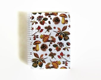 Nuts and Mushrooms Spiral Bound Writing Journal, Cute A5 Small Spiral Blank Paper Notebook, Sketchbook, Back to School, Journal Diary