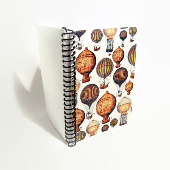 Hot Air Balloons, Travel Journal, Spiral Bound Journal, 5x7 Inches Notebook, Blank Sketchbook, Writing Journal, Back to School, A5 Notebook