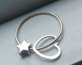 CUSTOM RING - Simply Celestial Starry Spinnerette Fidget Ring - Sterling Silver & Rose Gold Fill