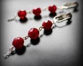 Red Dangle Earrings, Clip On Earrings, Fire Polish Opal Glass and Silver Earrings, Valentine's Day Gift, Dark Garnet Red Earrings, Gift Box