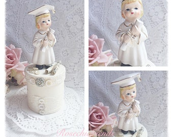 Graduate Girl Figure White Box Hand Painted Shabby Chic ECS sct schteam SVFTeam