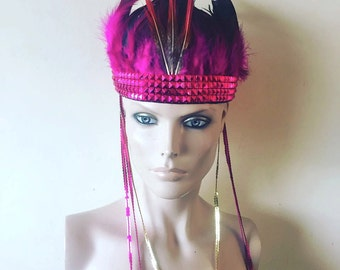 Pink Feather Head Dress Feather Crown Head Piece Festival Sequin Stud