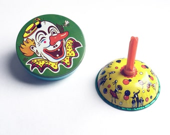 Vintage 1950's U.S Tin Litho Novelty Noisemakers Party Toys Gregor Bell New Years Eve Scary Clown Dancers Lot of Two
