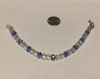 Deep sky blue and clear Swarovski crystal bracelet