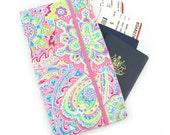 Travel Wallet, passport holder, family travel wallet, travel organizer, passport wallet, document holder - Pink Bohemian