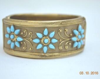 Gold Tone Bracelet, Turquoise Cuff Bracelet, Clamper Bracelet, Gold Bracelet, Vintage Bracelet, Statement Bracelet, Gold Cuff, 1960s Cuff