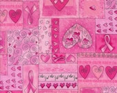 Timeless Treasures Pink Ribbon Cancer Awareness Hope Fabric by the yard C1766-Pink