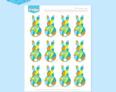 Instant Download - EASTER Bunny Cupcake Toppers (blue) - DIY Printable