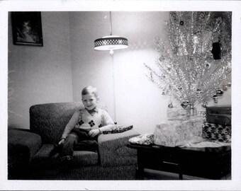 Vintage Photo 1961 Cute Young Preppy Boy Artificial Christmas Tree Polaroid Snapshot