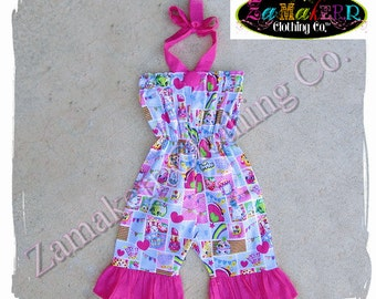 Girl Shopkins Romper Outfit Birthday Boutique Clothing Cupcake Queen Shorts Capri Pant Top Size 9m 9 12 18 24 month 2 2T 3 3T 4T 4 5T 5 6 7