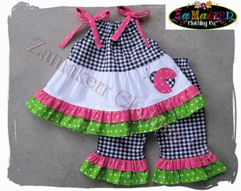 Custom Boutique Clothing GIRL Ladybug Outfit Set Pink Green 1st Birthday Spring Ruffle Pant 3 6 9 12 18 24 month size 2T 2 3T 4 5 6 7 8 t
