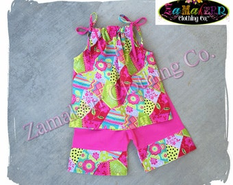 Boutique Birthday Girl Summer Capri Outfit Pant Set Clothing Pink Toddler Birthday Size 3m 6m 9m 9 12 18 24 month 2 2T 3 3T 4T 4 5 5T 6 7 8