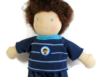Monkey patch tee shirt and denim pants for 10 inch Waldorf style doll, doll shirt and pants, fun doll clothes