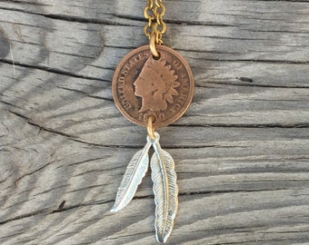 Chief necklace. old Indian head penny- native american repurposed coin jewelry gold choker chain copper silver feather dangle n13