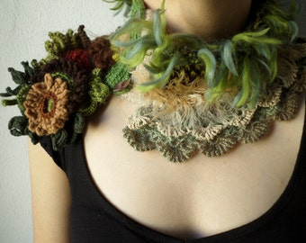 knitted and crocheted statement scarflette in green, brown, cream, gray, burgundy, camel and yellow colors with floral decorations