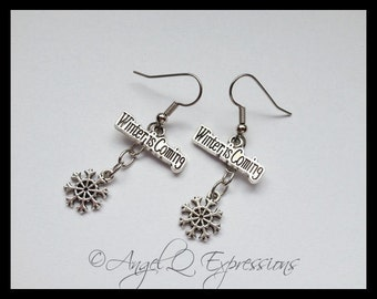 Winter Is Coming House Stark Game of Thrones Snowflake Earrings