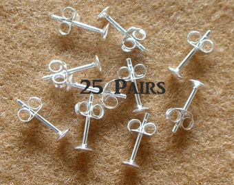 925 Sterling Silver 4 MM. Pad Earring Posts and  Earring Backs - 25 Pairs (50 Pieces)