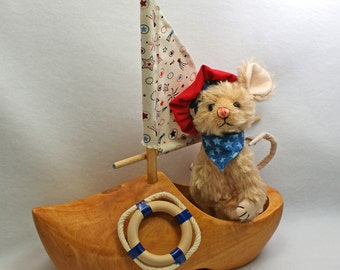 Marshall Mouse  Artist Teddybear Friend  Mohair Jointed wooden shoe