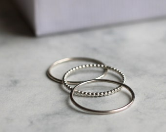 Dot and Smooth Stacking Ring Set - Skinny   sterling silver jewellery   bubble stacking ring set   mixed stacking ring set   skinny rings